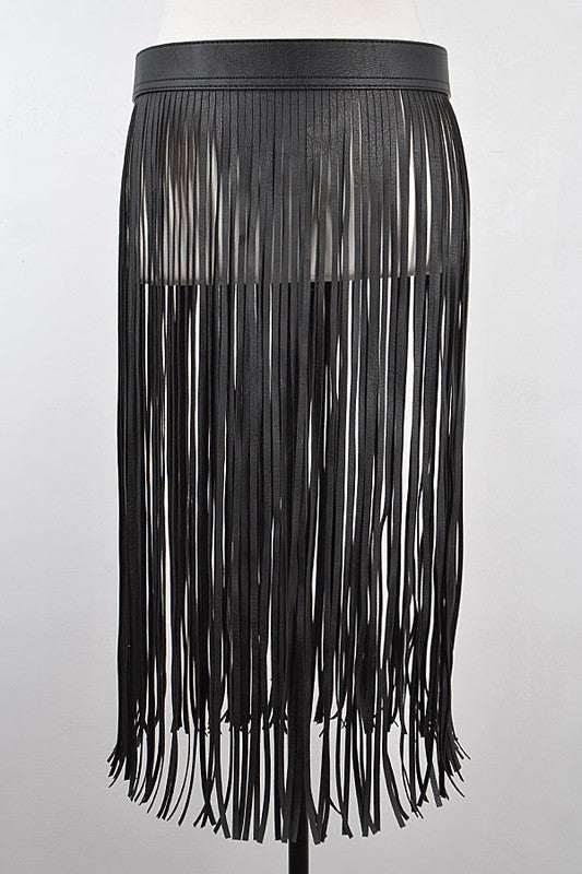 THE WEEKEND Long Leather Fringe Belt Skirt
