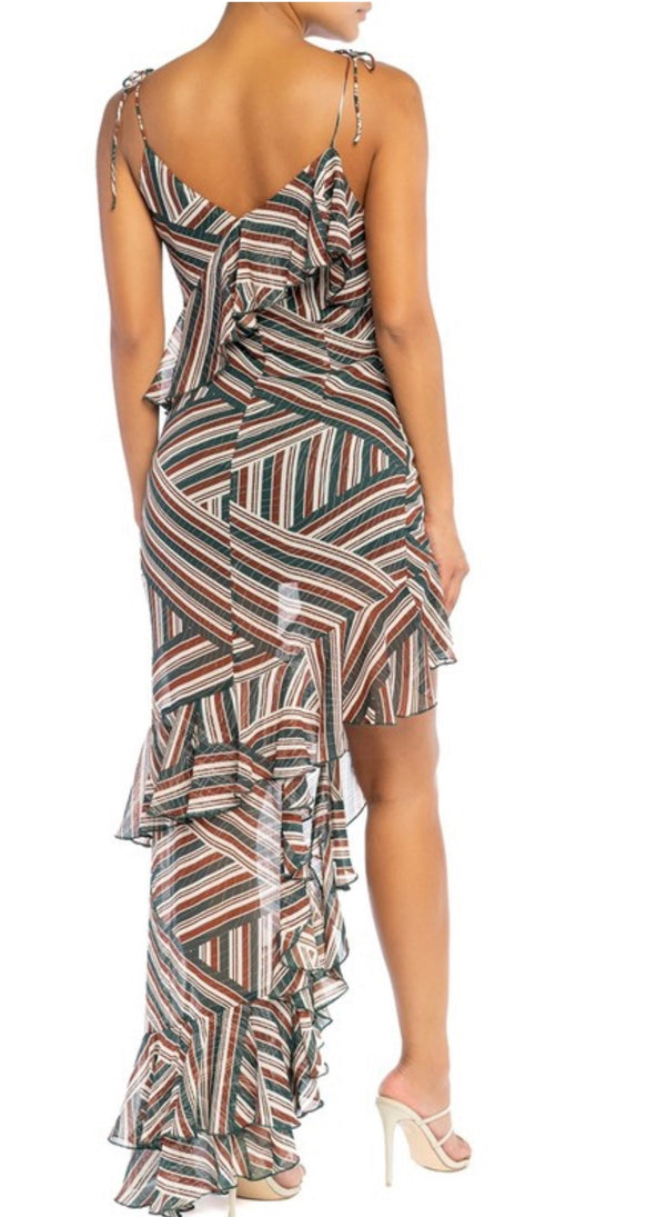 MY OH MY Strappy Striped High Slit Ruffled Long Maxi Dress