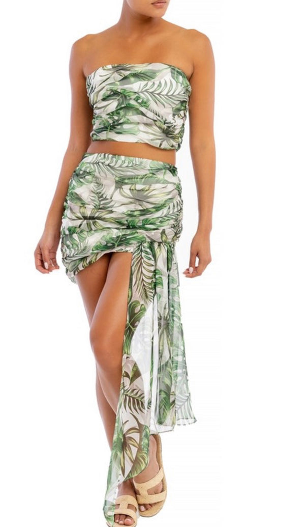 BAHAMA MAMA Two Piece Palm Tree Print Draped Two Piece Set
