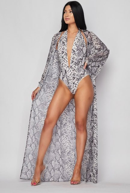 NO FEAR 2 Piece Snakeskin Swimsuit & Matching Duster