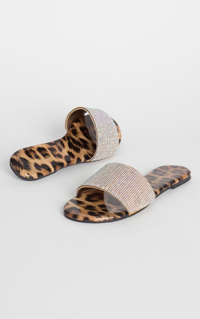PILLOW TALK Leopard & AB Crystal Slippers