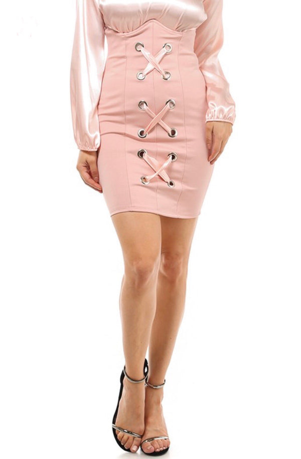 MEANT TO BE High Waist  Blush Corset Skirt
