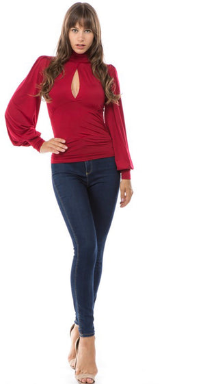 ABBY Puff Sleeve Turtleneck Top