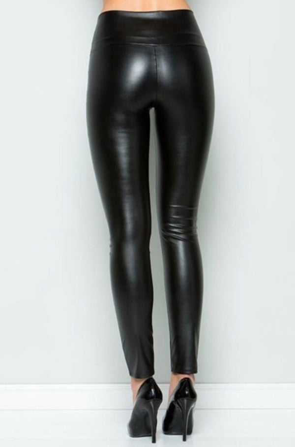 BASIC Faux Leather Leggings
