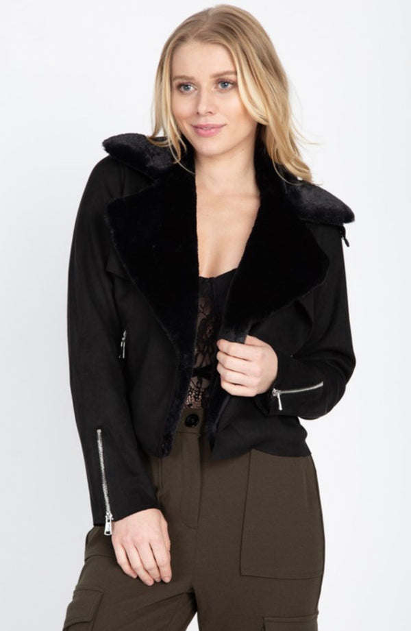 THIS CITY Moto Jacket w/ Fur Collar