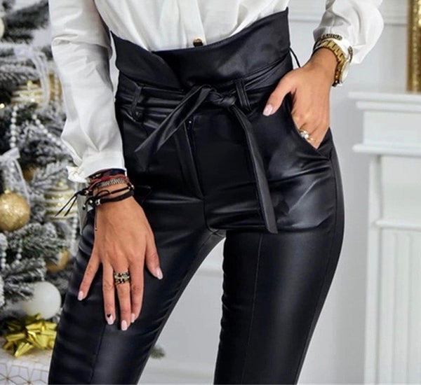 EXPENSIVE TASTE Faux Leather Tie Waist Pants