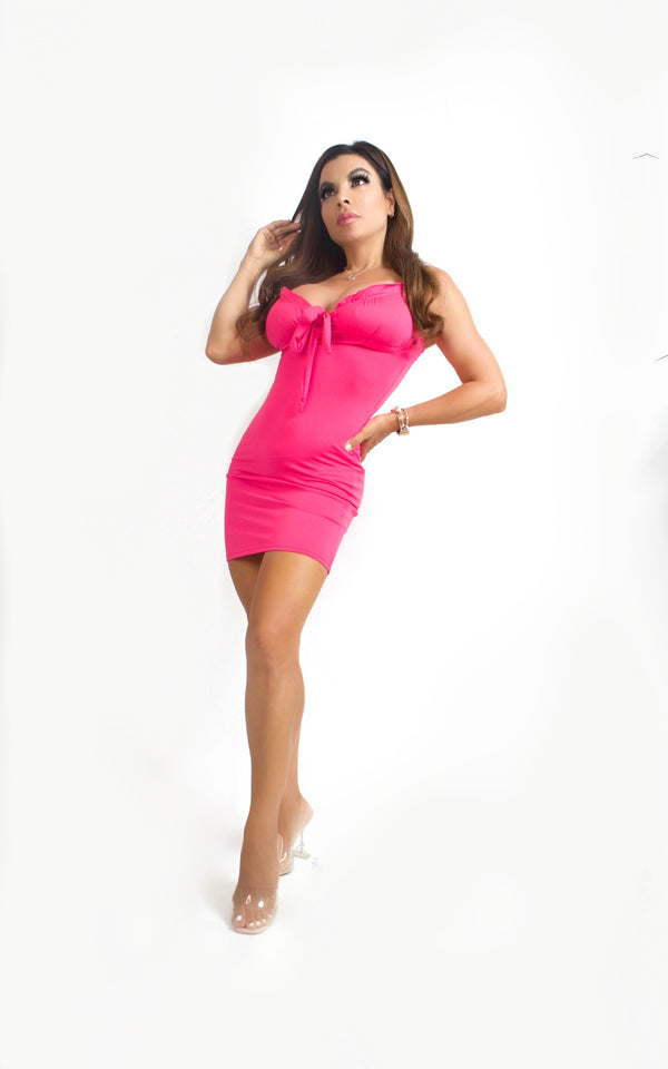 HOT PINK Ruched Shirred Front Tie Smocked Dress