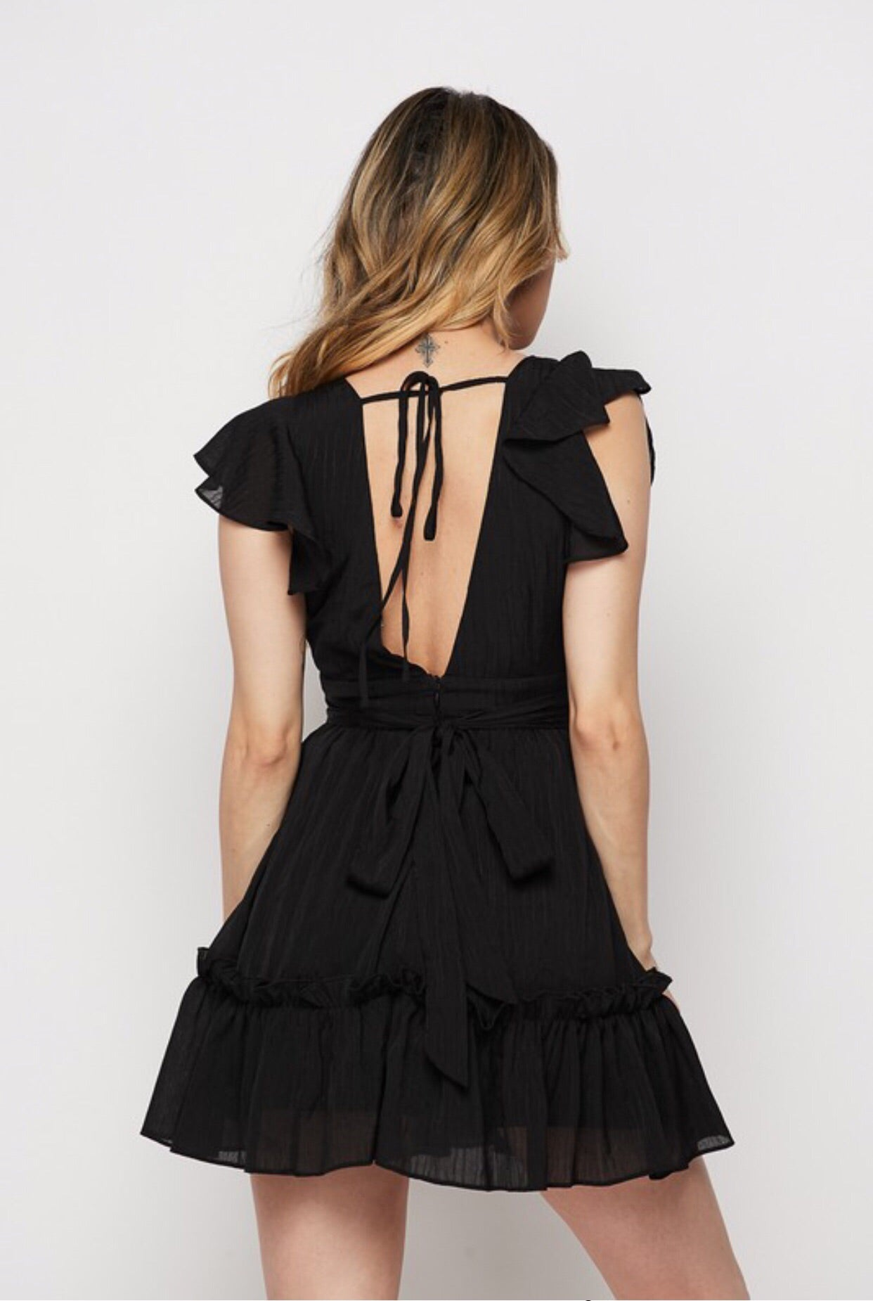 ANYA Ruffle Shoulder Beach Dress