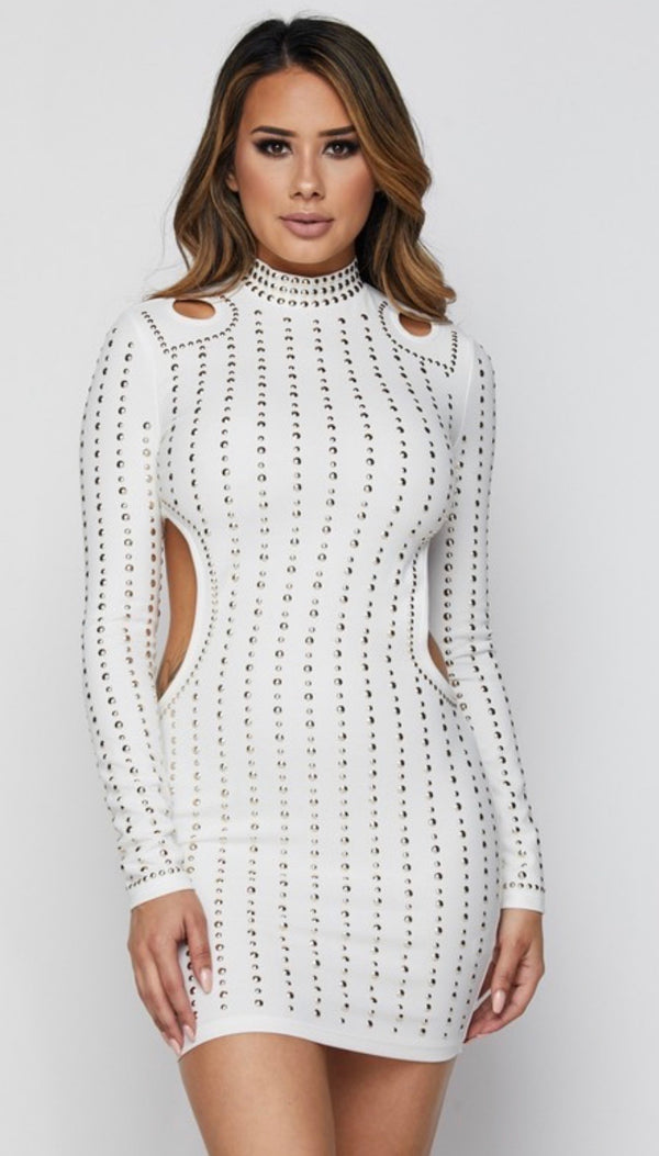 VULNERABLE Long Sleeve White Studded Cutouts Dress