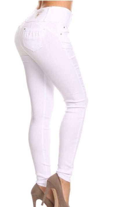 GIVIN YOU UP White Three Button Colombian Jeggings