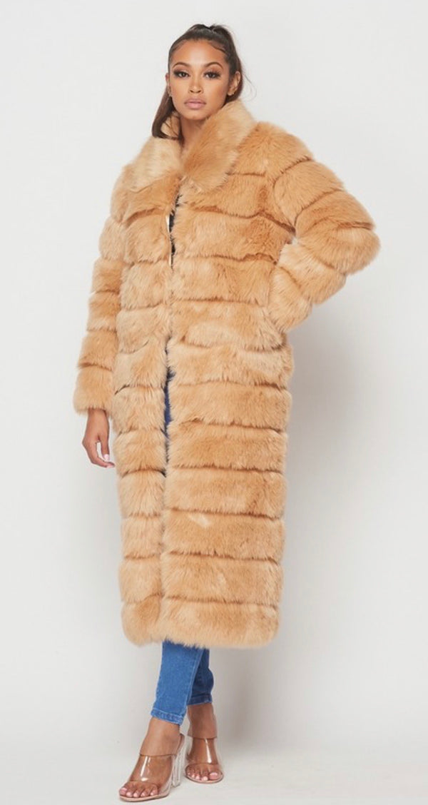 BABY ITS COLD OUTSIDE Faux Fur Beige Long Coat