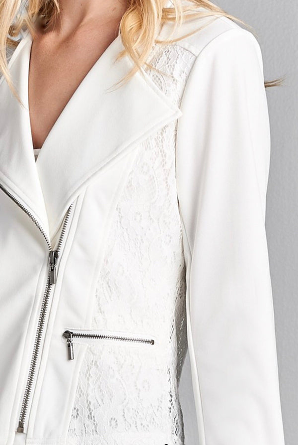 LADY MADONNA White Fabric Moto Jacket