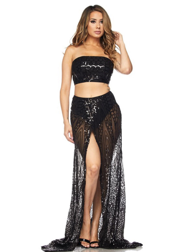 MAY IT BE Sequin Two Piece Skirt Set