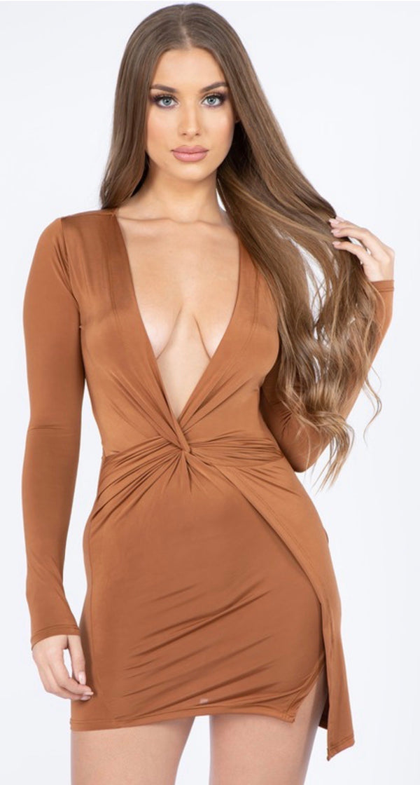 AUTUMN LEAVES V NECK DRESS