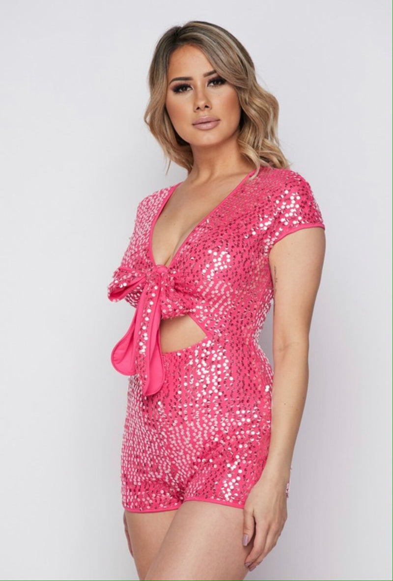 BODY ELECTRIC Pink Sequin Cutout Romper