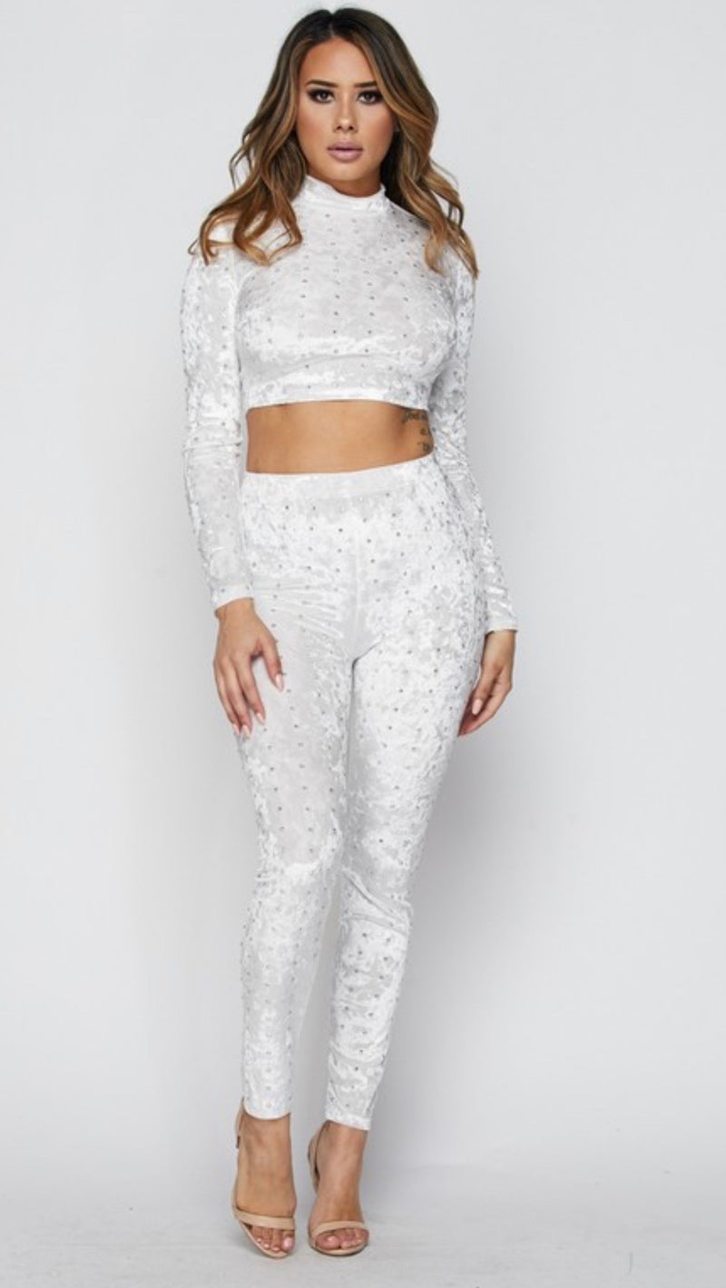EVERYTHING I WANTED Rhinestone Embellished Two Piece Pants Set