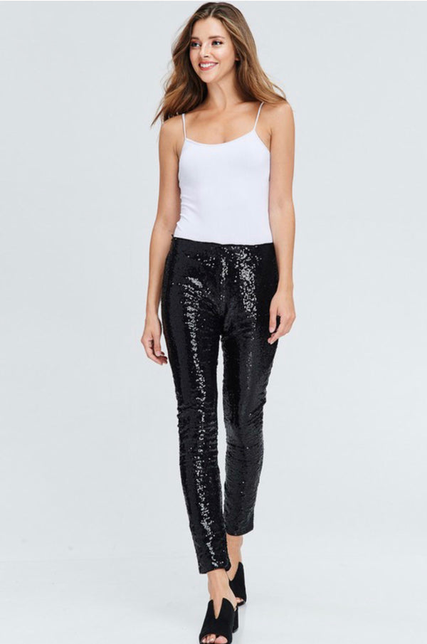 BLACK SWAN Black Sequin Leggings