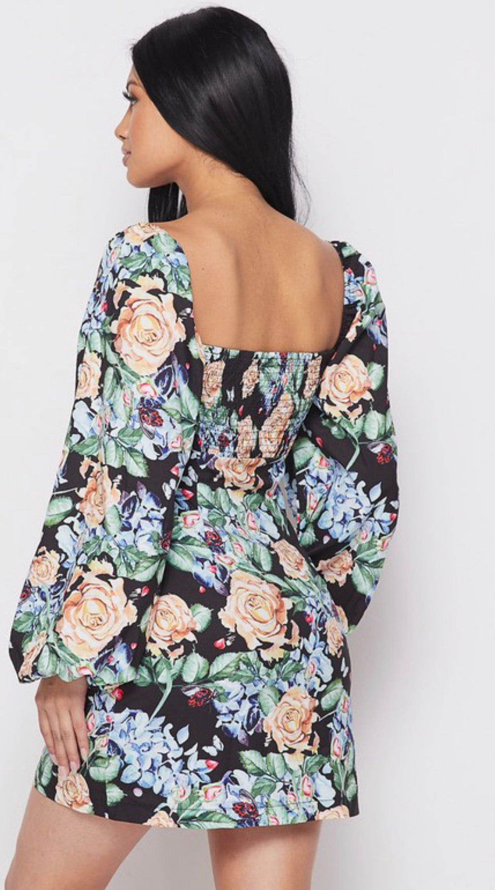 FASHION WEEK Floral Princess Puff Sleeve Dress
