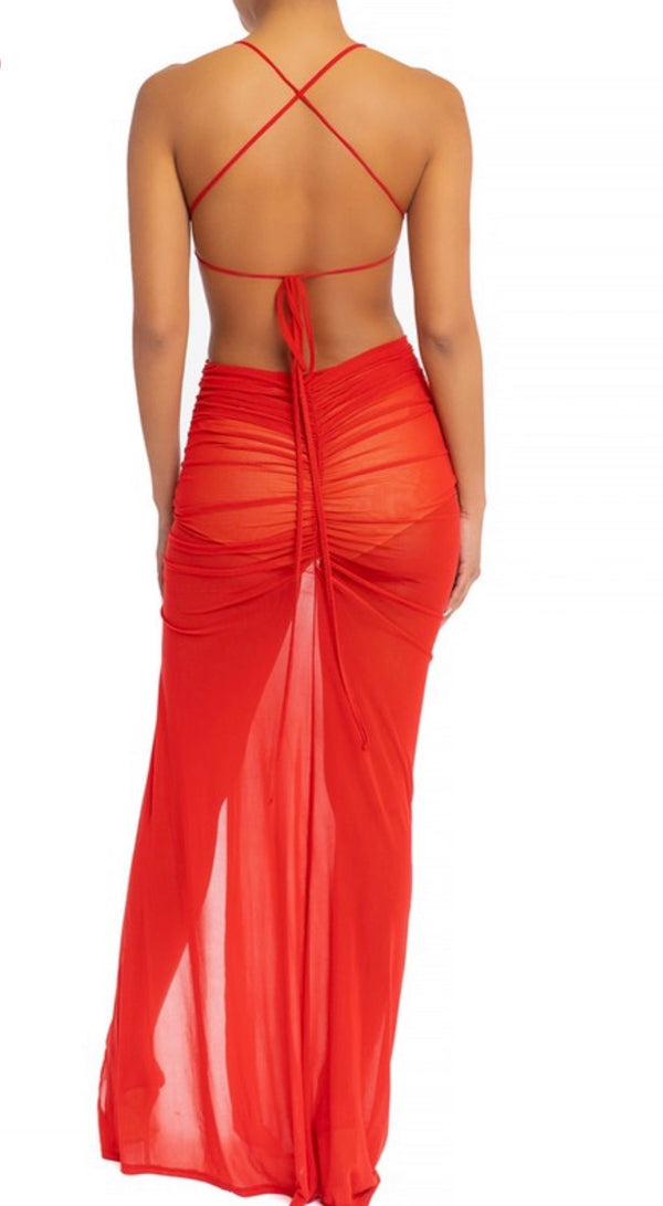 MEDICINE Ruched Red Long Dress