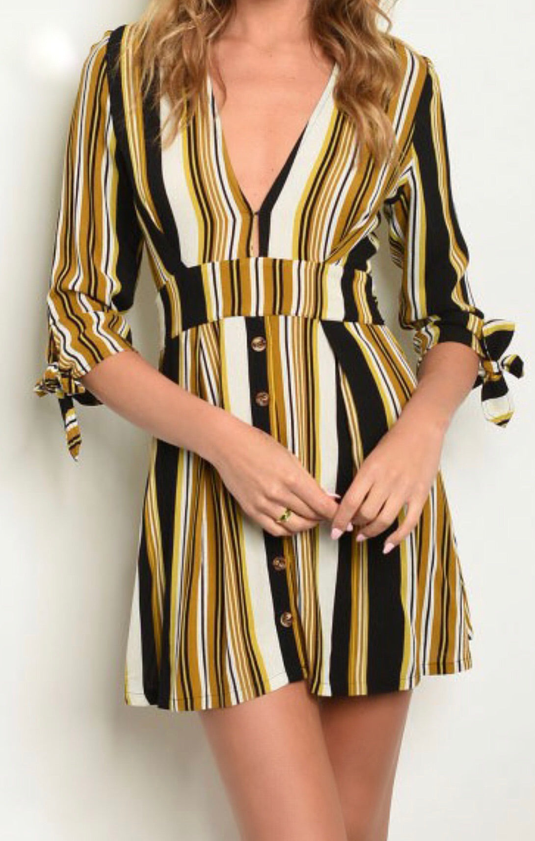 LIBRARY Midi Half Sleeve Belted Mustard Striped Dress