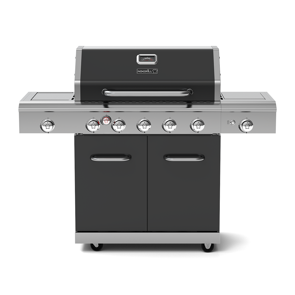 Deluxe 5-Burner Propane Gas Grill with Ceramic Rear Burner, Stainless Steel Side Burner & Ceramic Side Burner