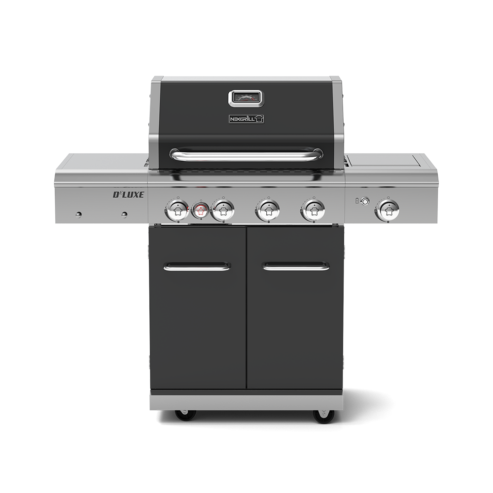 Deluxe 4-Burner Propane Gas Grill with Ceramic Rear Burner & Stainless Steel Side Burner