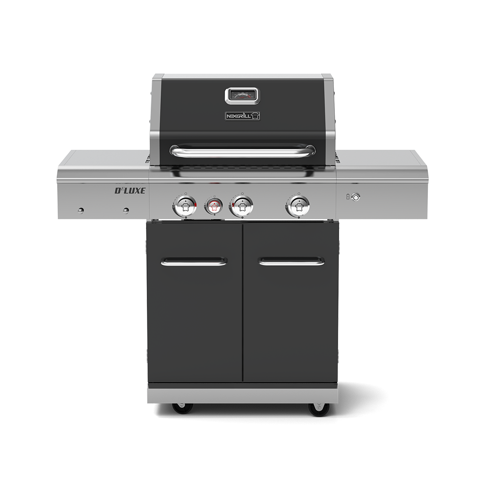 Deluxe 3-Burner Propane Gas Grill with Ceramic Rear Burner