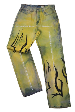 YELLOW TRIBAL SUPPORT CUSTOM JEANS