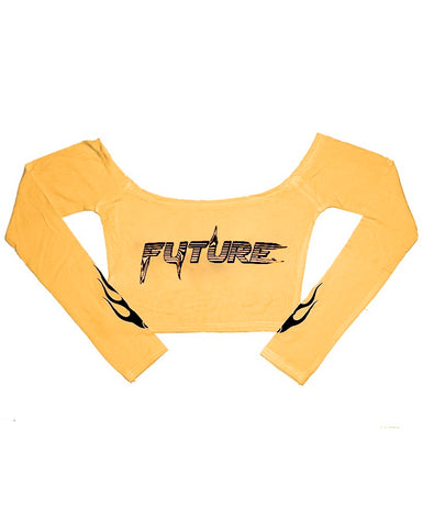 FLAME FUTURE YELLOW CROP TOP