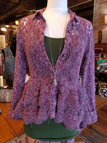 Plum lace button-up