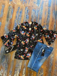 Floral Ruffle Bell Sleeve Top