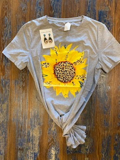 Sunflower and Leopard Tee