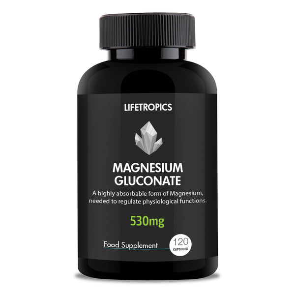 Magnesium Gluconate, 530mg vegetable capsules - Lifetropics