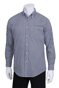 Mens Dark Navy Gingham Dress Shirt