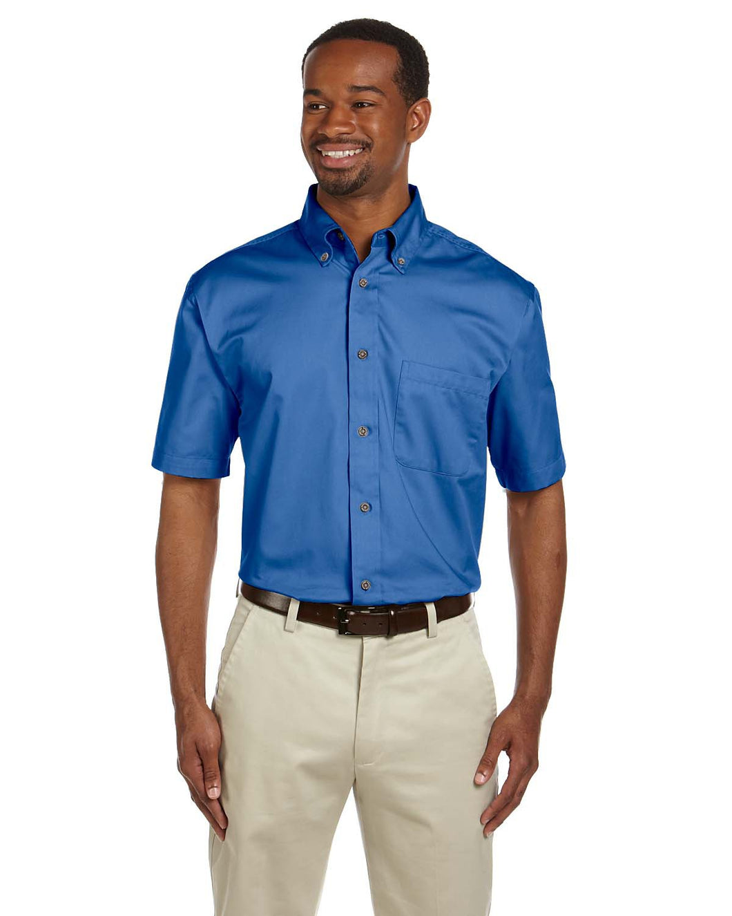 Harriton Men's Easy Blend™ Short-Sleeve Twill Shirt with Stain-Release. M500S
