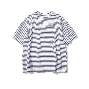 Rose Embroidery Striped Short Sleeve T-Shirt