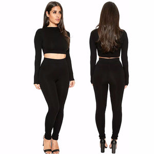 Long Sleeve Crop et Bodycon Pants