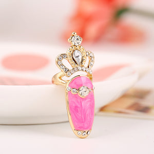 Crystal Bowknot Crown Pattern Nail Rings