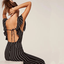 Striped Backless Palazzo Pants Jumpsuit