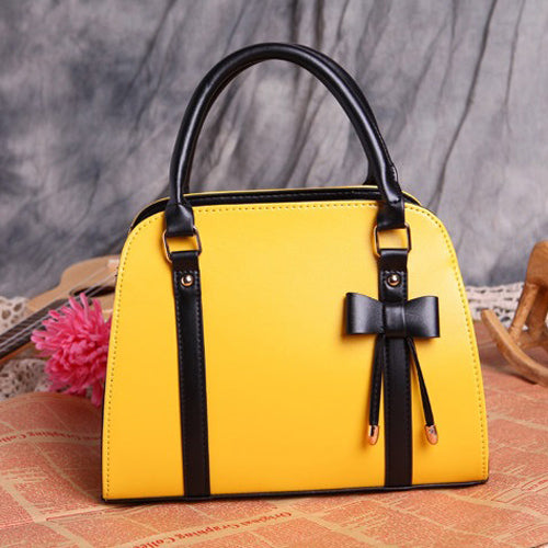 Trunk Bow Design Leather Handbag