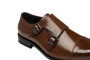 Monk Strap Leather Shoes with Brogue Design