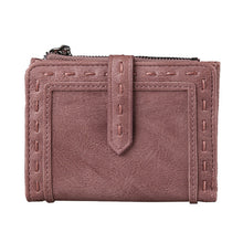 Threaded Zipper Clasp Leather Wallet