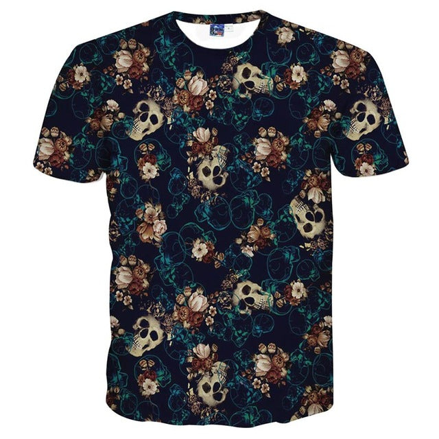 Skulls with Flowers Design T - Shirt