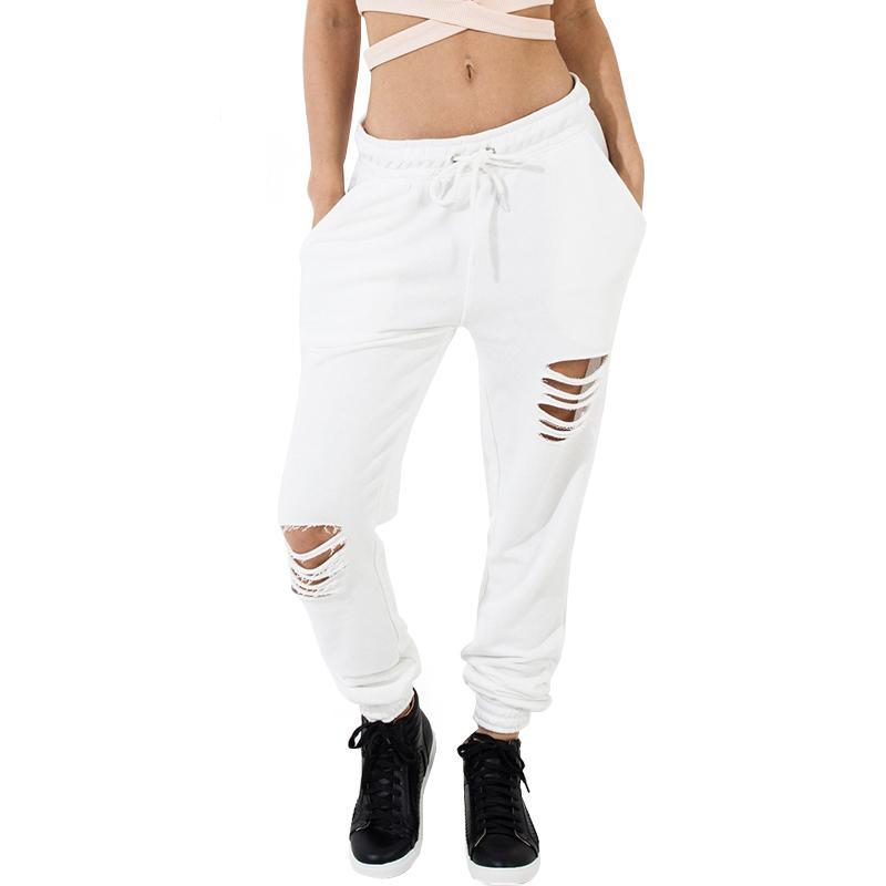 Loose Fit Distressed White Ripped Pants
