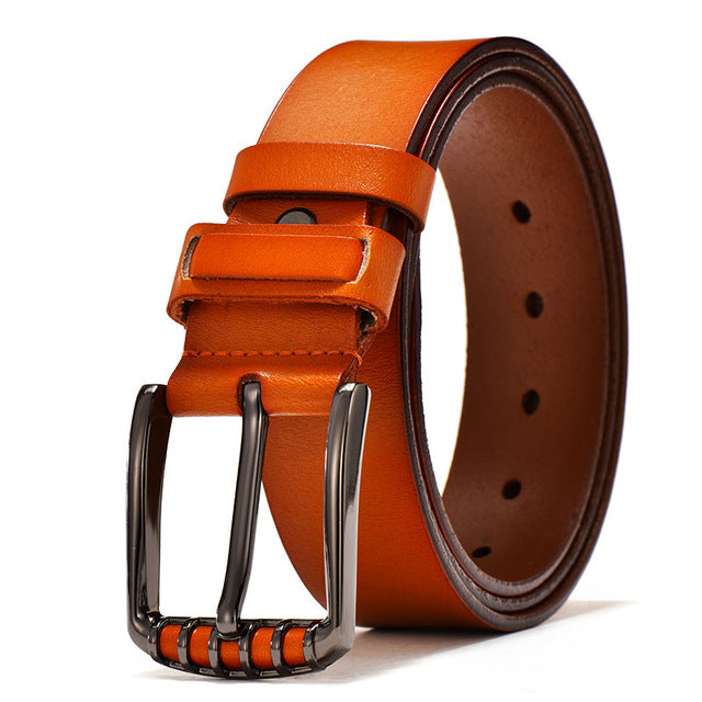 Vintage Brown Leather Buckle Belt