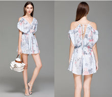 Summer Flower Print Pleated Playsuits