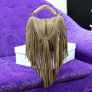 Cross-body Leather Tassel Handbag