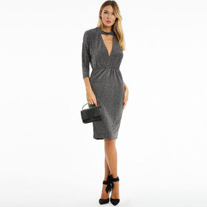 Batwing Sleeve Sexy Formal Bodycon