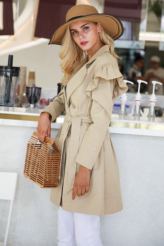 Sash Pocket Outerwear Ruffle Trench Coat