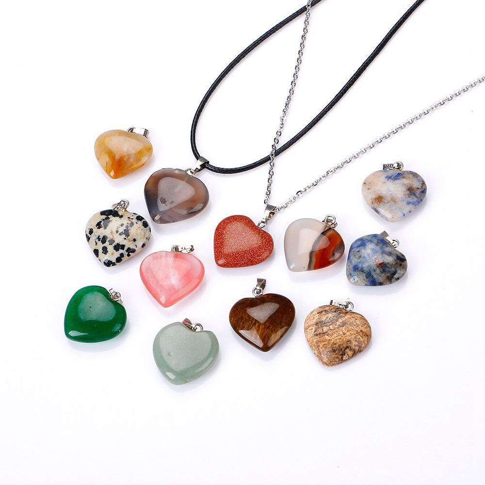 Love Charms Natural Stone Vintage Necklace